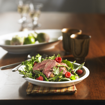 Duck Breast and Asparagus Salad, with Raspberry Dressing
